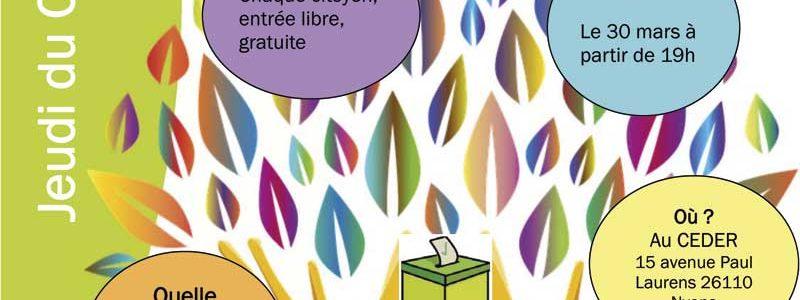 Jeudi du CEDER le 30 mars transition énergétique dans le débat politique au CEDER à 19 h